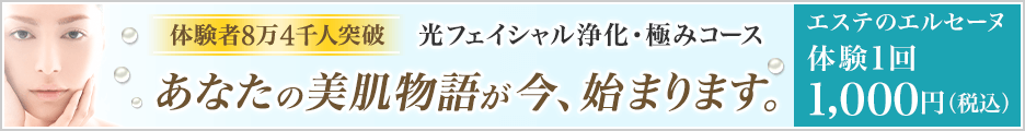 エステ・痩身・脱毛のエルセーヌ 『W光フェイシャル』体験コース1回2100円